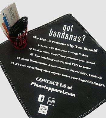 Custom printed bandanas by Planeta Apparel