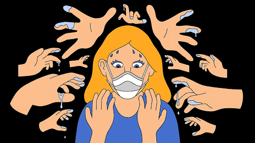 An illustration demonstrating being conscious about not touching the face