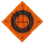 An orange custom bandana with oversize imprint and a one color plastisol design using a screen printing method