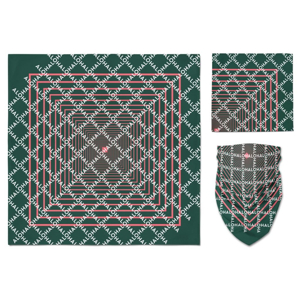 A dark green custom bandana with off the edge imprint and a two color water base design using a screen printing method