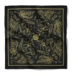 A black bandana with oversize imprint and a one color metallic design using a screen printing method