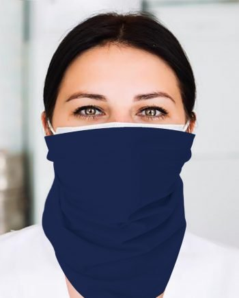 A nurse wearing a navy flat bandana around her face