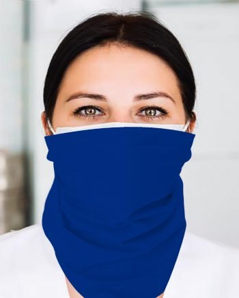 A nurse wearing a royal blue flat bandana around her face
