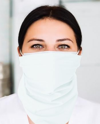A nurse wearing a white flat bandana around her face
