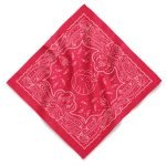 A red custom bandana with oversize imprint and a one color water base design using a screen printing method