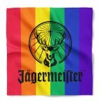 A rainbow bandana with standard imprint and a one color plastisol design using a screen printing method