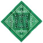 A green custom bandana with oversize imprint and a three color plastisol design using a screen printing method
