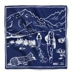 A navy bandana with oversize imprint and a one color reactive dye design using a reactive dye print method