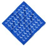 A royal blue custom bandana with oversize imprint and a one color water base design using a screen printing method