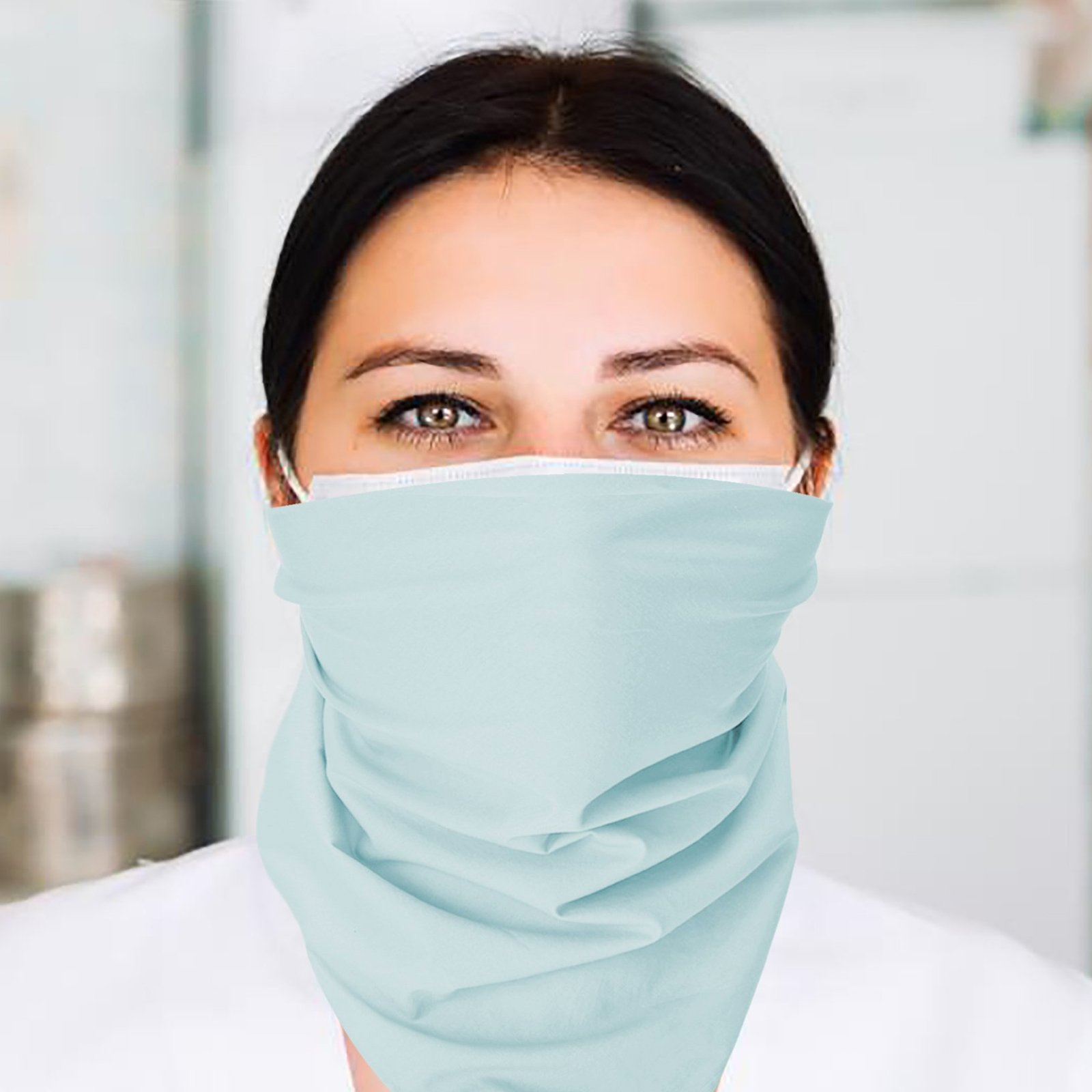 A nurse wearing a flat bandana around her face