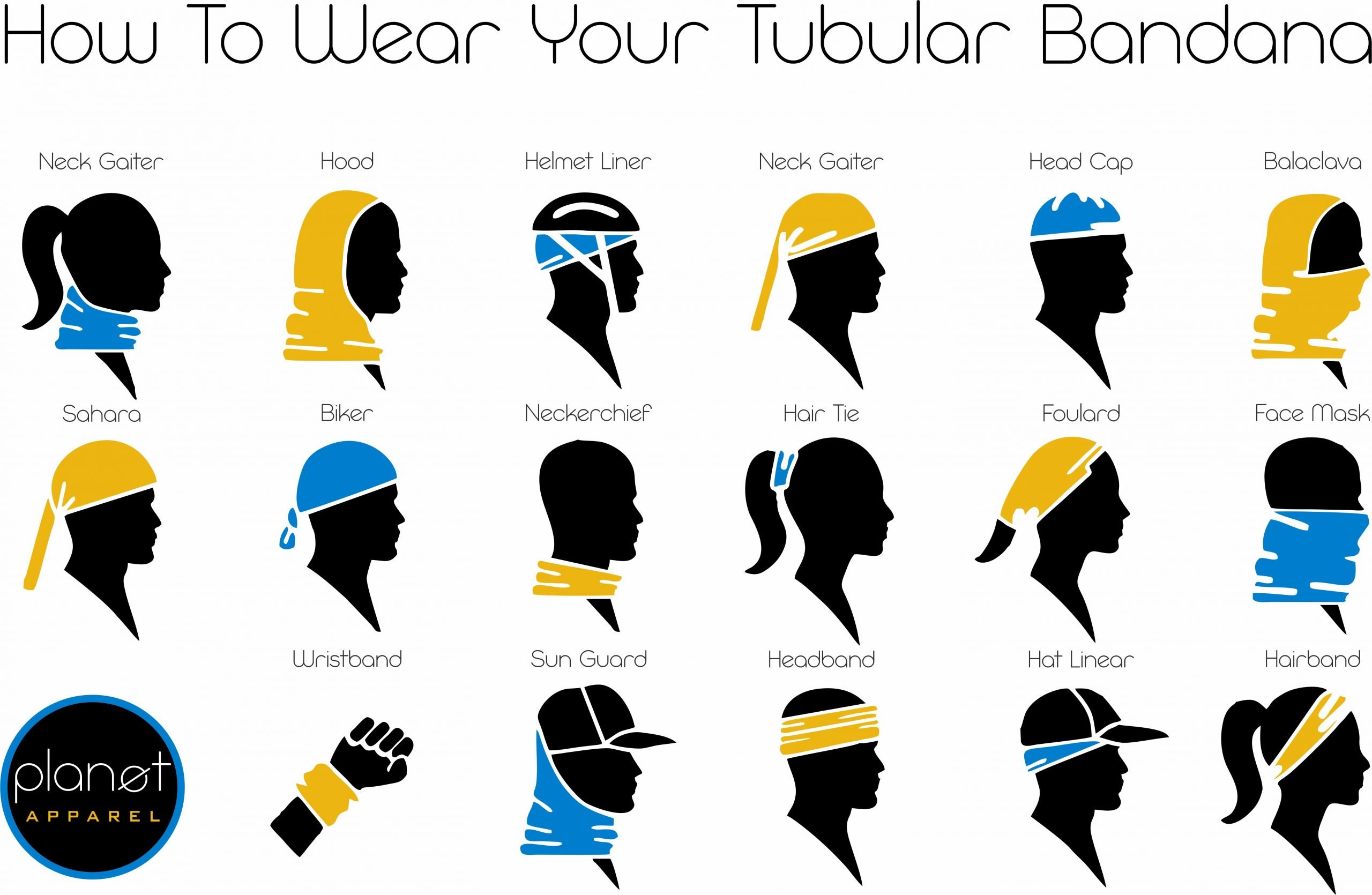 Image d displaying how to wear our tubular bandanas