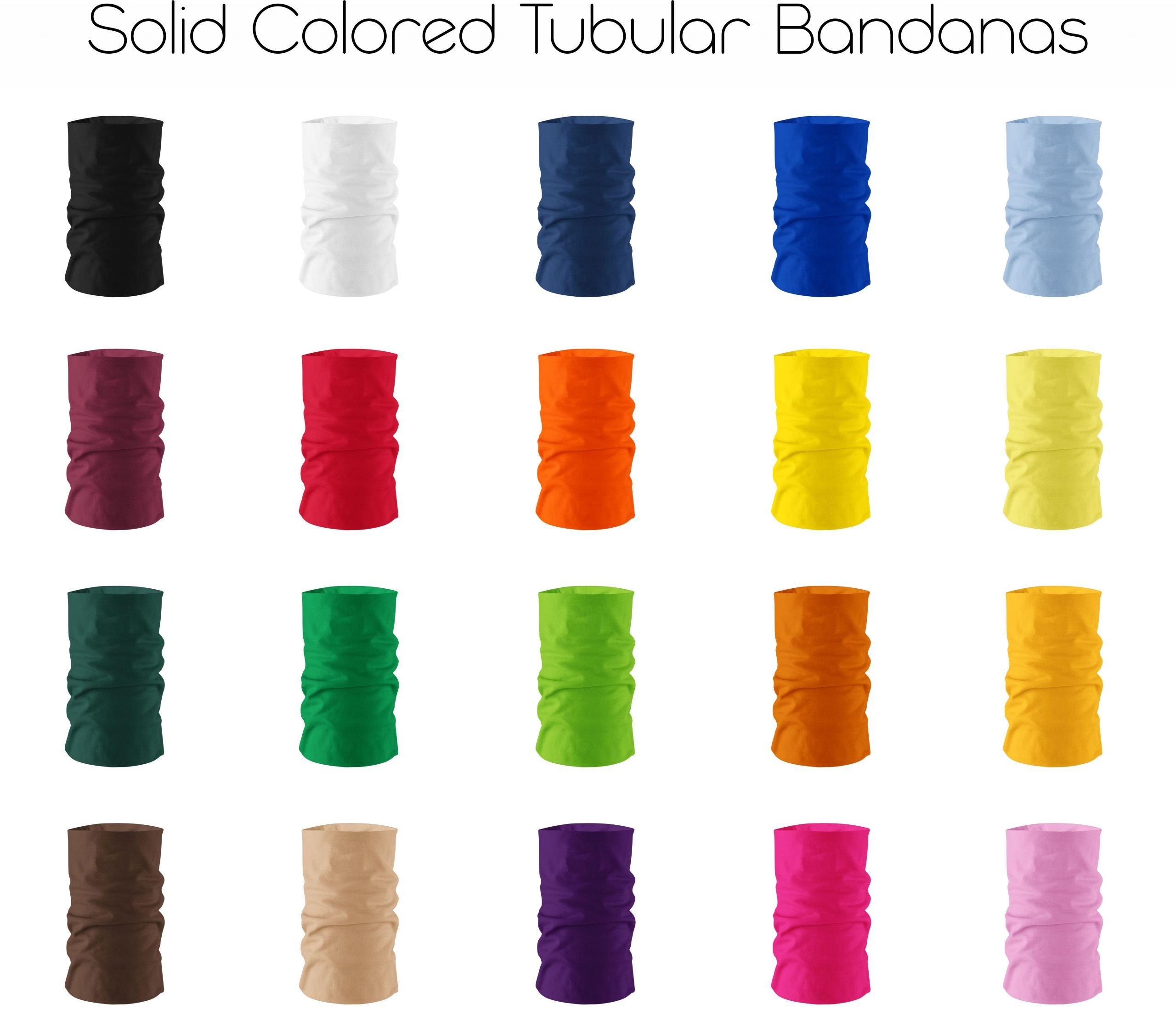 An image of solid colored tubular bandanas