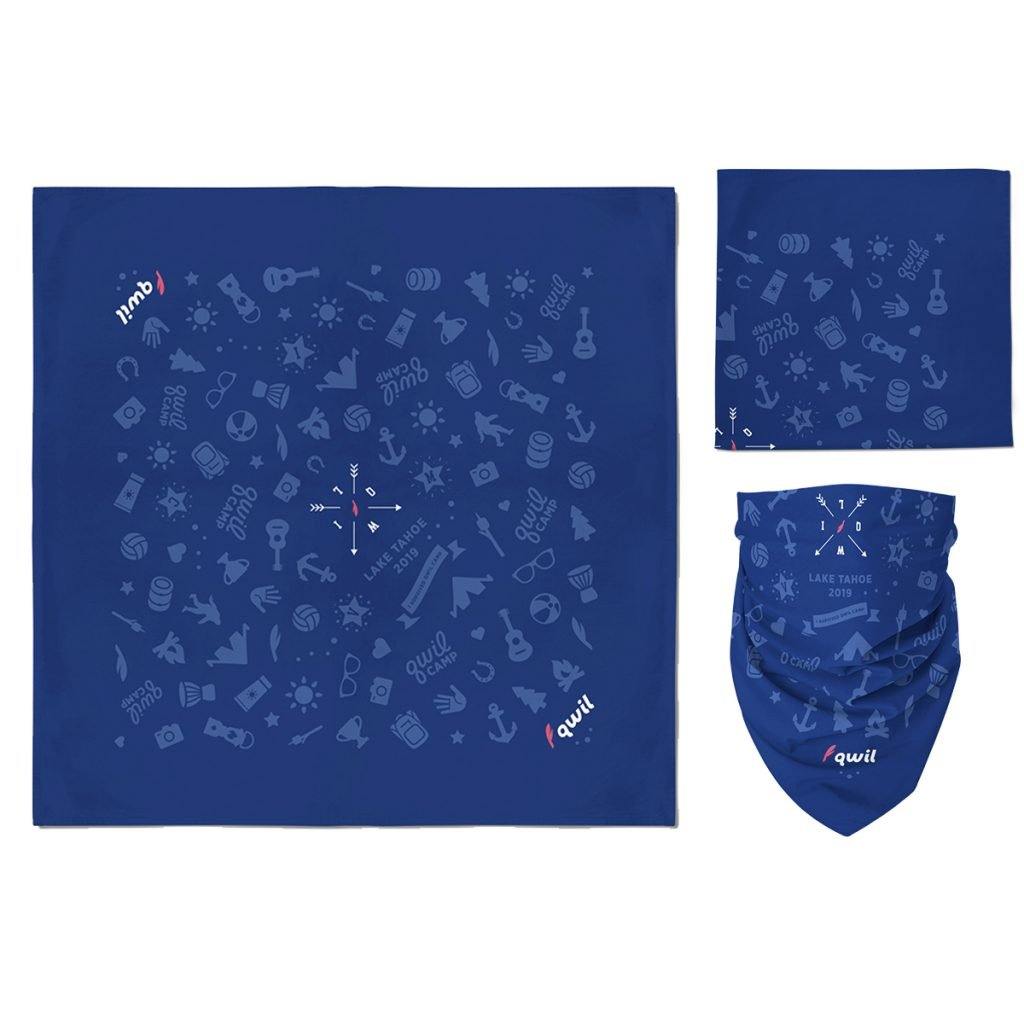 A navy custom bandana with standard imprint and a three color plastisol design using a screen printing method