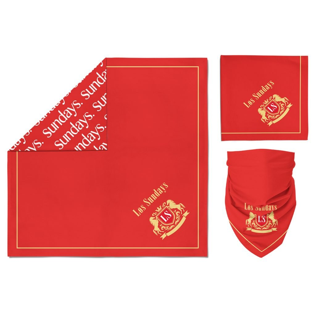a red custom bandana with off the edge imprint using sublimation print method